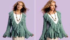 Today at pretty-ideas.com we have searched and want to show you how to crochet elegant and beautiful crochet soft sage circle jacket. This jacket will look