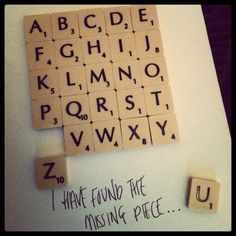 Scrabble Art..  Found the missing piece