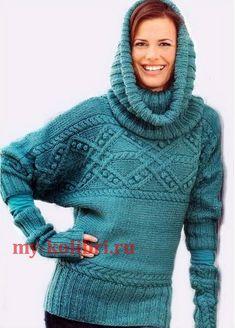 Воротник-хомут спицами, свитер и митенки