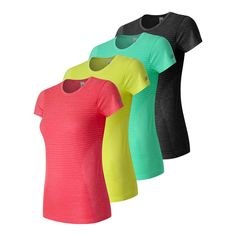 41386b87 New Balance Women's M4M Seamless Short Sleeve Shirt, Guava Heather, X-Small.