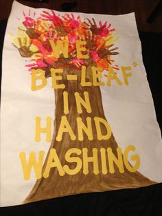 Back to school hand washing poster for pre-k through elementary school-aged students! My kids helped me make it, then practiced hand washing!