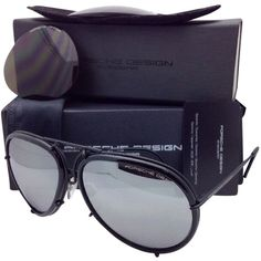 Pre-owned Porsche Design Titanium Aviator Sunglasses Black -2 Lens... ($775) ❤ liked on Polyvore featuring accessories, eyewear, sunglasses, none, mirrored aviator sunglasses, mirror sunglasses, mirror lens sunglasses, aviator sunglasses and unisex sunglasses