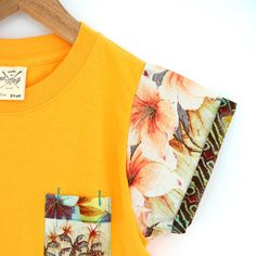 Flower Palm Gold Yellow oh May Tee's for boys and girls  www.ohmay.nl