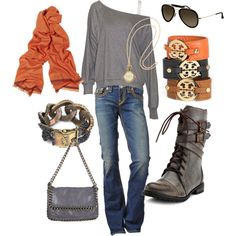 Comfy casual style.  Love the orange and gray.