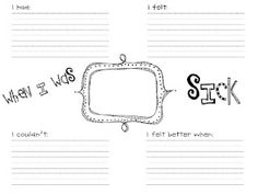 When I Was Sick -- free printable packet includes a graphic organizer and stationery for kids to write about their experiences.