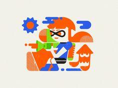 Inkling girl splat fest youre a squid now squid girl switch splatoon nintendo inkling inked illustration girl geometric Ink Illustrations, Illustration Girl, Splatoon 2 Game, Squid Girl, Logos, Flat Design, Nintendo, Digital, Art