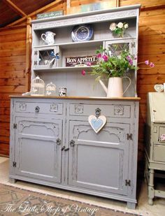 Old Charm Welsh Dresser Sideboard Cupboard Cabinet Shabby Chic Farrow U0026  Ball Estate Eggshell In Manor