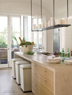 S kitchen - wood cabinets.Verdigris Vie: Beach Wood