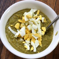 This flavorful Split Pea Soup is topped with hard-boiled eggs to give an extra punch of protein. #soup #recipes | Health.com