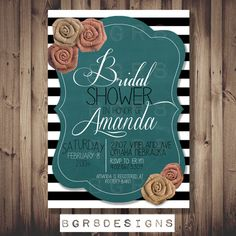 Rustic Bridal Shower / Or Baby Shower Invitation.
