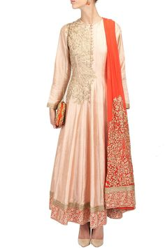 RIDHI MEHRA-Peach and orange embroidered anarkali perniaspopupshop.com