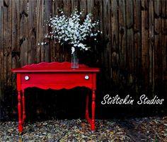 Rich Red Primitive  Farmhouse Desk Table Buffet. $330.00, via Etsy.