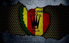 Download wallpapers Korona, 4k, logo, Ekstraklasa, soccer, football club, Poland, grunge, Korona Kielce, metal texture, Korona FC