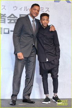Will Smith and Jaden share a sweet father and son moment while attending a press conference for their new film After Earth at the Ritz Carlton Tokyo on Thursday (May 2) in Tokyo, Japan.