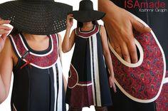 Robe Noire trapèze Bicolore Noir/ Blanc crème et imprimé cachemire rouge Tendance Automne Hiver 2015 à découpes : Robe par isamade