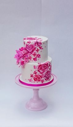 Two tiered Pink floral wedding cake with rose decoration and white icing. Gorgeous Cakes, Pretty Cakes, Cute Cakes, Amazing Cakes, Unique Cakes, Creative Cakes, Fondant Cakes, Cupcake Cakes, Hand Painted Cakes