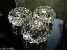 LOT/3 ORREFORS CRYSTAL CANDLESTICKS SCANDINAVIAN SWEDISH RASBERRY HALLON VOTIVES