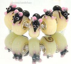 3pcs SILVER MURANO GLASS BEAD LAMPWORK Animal fit European Charm Bracelet yq108