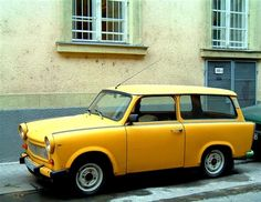 1975 Trabant dek This is the car that gave Communism a bad name. Powered by a two-stroke pollution generator that maxed out at an ear-splitting 18 hp, the Trabant was a hollow lie of a car constructed of recycled worthlessness (actually, the body was made of a fiberglass-like Duroplast, reinforced with recycled fibers like cotton and wood)