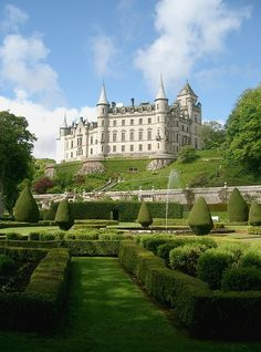 Dunrobin Castle  -  Sutherland, Scottish Highlands  -  oldest part of the castle dates back to the Middle Ages  -  1845 enlargements & extensions were the work of architect Sir Charles Barry who designed West Minister Palace  -  combinations of French Renaissance & Scots Baronial architecture  -  189 rooms  -  seat of Clan Sutherland  -  1500s to mid 1700s Clan Gordon had it  -  open to the public