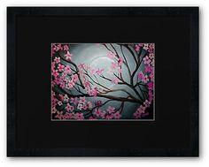 Cherry Blossom Moon -  Acrylic, hand painting