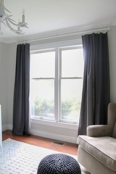 Super Easy DIY Blackout Curtains – Living Letter Home - gardening supplies No Sew Curtains, Ikea Curtains, Curtains Living, Custom Curtains, Nursery Blackout Curtains, Room Darkening Curtains, Blackout Panels, Diy Furniture Easy, House