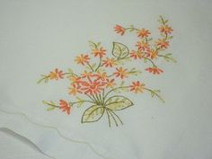 SALE Lovely Hand Embroidered Linen Hand Towel by RaesVintage