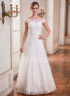 Wedding Dresses - $199.99 - A-Line/Princess Off-the-Shoulder Floor-Length Tulle Wedding Dress With Ruffle Lace Beading Sequins (007041151) http://jenjenhouse.com/A-Line-Princess-Off-The-Shoulder-Floor-Length-Tulle-Wedding-Dress-With-Ruffle-Lace-Beading-Sequins-007041151-g41151