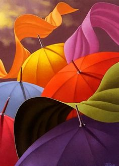 I have always loved umbrellas- they protect you from storms, sun and symbolically life. The more colorful the better. If I could have an umbrella House, I would!