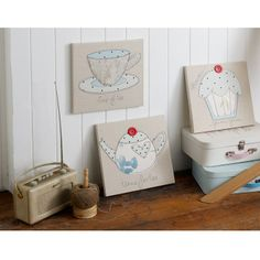 Stitched tea and cupcake - set of 3 fabric canvas art | Graham and Brown
