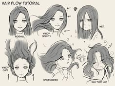 Hair flow drawing techniques, drawing tips, drawing reference, water drawing, drawing expressions Drawing Techniques, Drawing Tips, Drawing Reference, Drawing Sketches, Art Drawings, Drawing Ideas, Drawing Hair Tutorial, Drawing Drawing, Drawing Hair