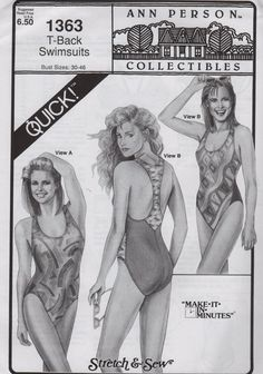 Stretch and Sew 1363  Easy T Back Swimsuit Sewing Pattern  mbchills