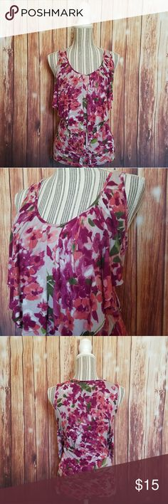 LC Lauren Conrad ▪ Floral Ruffle Front Tank Top LC Lauren Conrad brand ▪ Ruffle Front Tank Top ▪ Multicolor Floral Print ▪ Excellent Used Condition ▪ 100% Rayon LC Lauren Conrad Tops Tank Tops