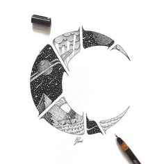 Crescent space by _vladinsk_ Pencil Art Drawings, Drawing Sketches, Cool Drawings, Ink Illustrations, Illustration Artists, Space Illustration, Kunst Tattoos, Body Art Tattoos, 16 Tattoo