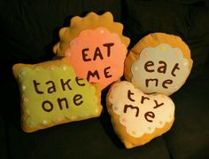 Eat me cookie throw pillows. Very nice! You can make these yourself (I'll pin the link/video later)