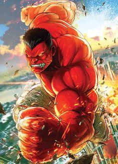 Weapon H Battle Line variant cover - Red Hulk by Maxx Lim * Red Hulk Marvel, Marvel Comics, Dc Comics Superheroes, Hulk Avengers, Marvel Comic Books, Comic Book Characters, Comic Book Heroes, Marvel Heroes, Marvel Characters