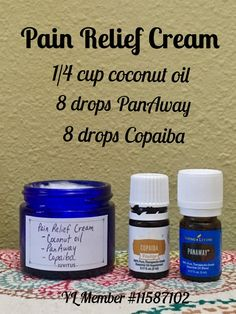 Pain relief cream using only PanAway and Copaiba essential oils - both included in Young Living premium starter kits. Visit link to start an oily journey of your own! YL member #11587102.