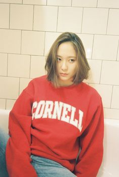 180409 f(Krystal) = Bellboy Magazine 'My Best Friend's Sweatshirts' Krystal Sulli, Krystal Fx, Jessica & Krystal, Jessica Jung, Best Friend Sweatshirts, Krystal Jung Fashion, Idol, Victoria, South Korean Girls