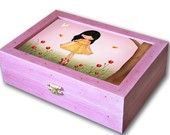Big wooden jewelry keepsakes Box for girls - Spring Jolinne