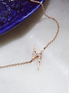 Ark + Arrows x Free People Lightning Bolt Sapphire Necklace at Free People Clothing Boutique