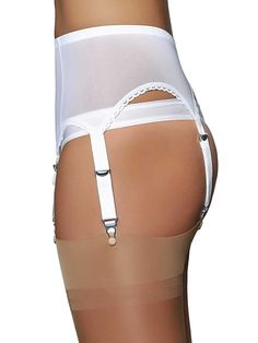 White Powermesh 6 Strap Suspender/Garter Belt ( SSL61 ) by Premier-Lingerie.