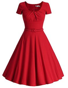 MUXXN Women's 1950s Vintage Short Sleeve Pleated Swing Cocktail Dress(XL,Red) Price: $59.99 Sale: $35.99