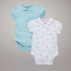 John Lewis Baby Jumping Rabbits and Plain Bodysuits, Pack of 2, Multi