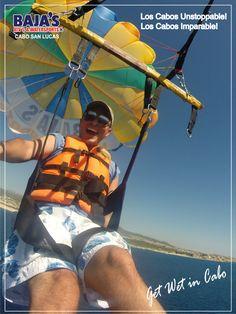 Disfruta el Parasailing en la Bahía de Cabo San Lucas! Promoción Especial Octubre: Paquete de Fotos Cortesía de BAJA´S! Precio Especial para Locales, pregunta en nuestras Locaciones en la Playa del Medano   #CaboStrong #LosCabos #Bajaswatersports #Watersports