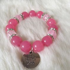 Items similar to Bubble Gum Pink Live.Laugh - Pink Bracelet - Friendship Bracelet - Birthday Gift - Live Love Laugh Bracelet - Stacking Bracelet on Etsy Handmade Bracelets, Beaded Bracelets, Handmade Gifts, Pink Live, Bubblegum Pink, Bubble Gum, Sculptures, Jewels, Trending Outfits