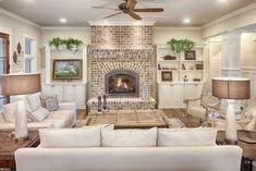 30 Stunning Living Room Design With Farmhouse Style. Stunning Living Room Design With Farmhouse Style An open family room and kitchen where the family eats is designed in charming farmhouse style which makes it a […] Living Room Designs, Living Spaces, Living Rooms, Living Area, Living Room Styles, Family Room Design, Living Room With Fireplace, Living Room Interior, Home Fashion