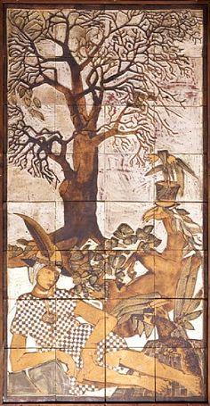 Arne Åse  Gaular 1940  Mytologisk motiv Keramiske fliser montert på plate, 218x110 cm (keramikk) Usignert   Trolig 1970-tallet Scandinavian, Vintage World Maps, Moose Art, Ceramics, Glass, Animals, Ceramica, Animales, Drinkware