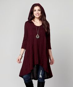 Look at this #zulilyfind! Plum Cable Knit Hi-Low Hooded Tunic – Plus by Reborn Collection #zulilyfinds