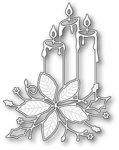 steel craft die from Memory Box featuring three candles and a beautiful poinsettia flower. Christmas Candles, Christmas Art, Christmas Ornaments, Handmade Christmas, Memory Box Dies, Christmas Stencils, Poinsettia Flower, Christmas Party Games, Candle Centerpieces