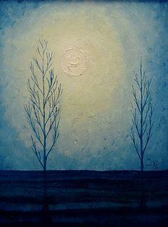 La luna en el campo Oleo sobre Tela. 40x30cms. 2005. Jesús Martínez.